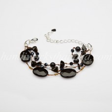 Face Cut Oval Stone Bracelet (BLACK)